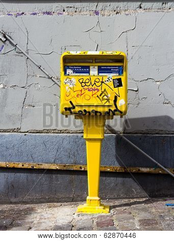 French Postbox Covered In Graffiti