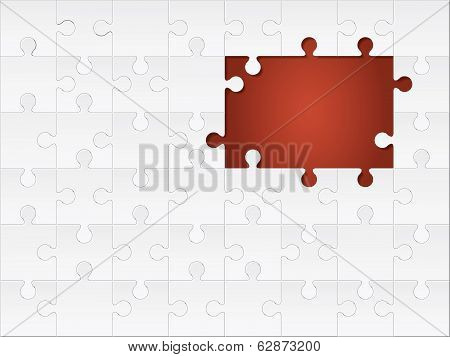 white jigsaw puzzle with the space of missing pieces on red background.