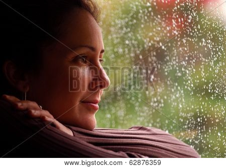 Woman Relaxing During Rain