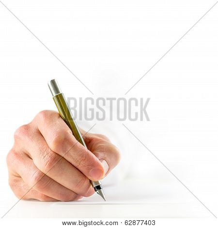 Man Signing A Document With A Fountain Pen