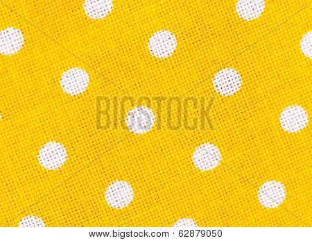 Yellow Fabric Texture With White Polka Dots