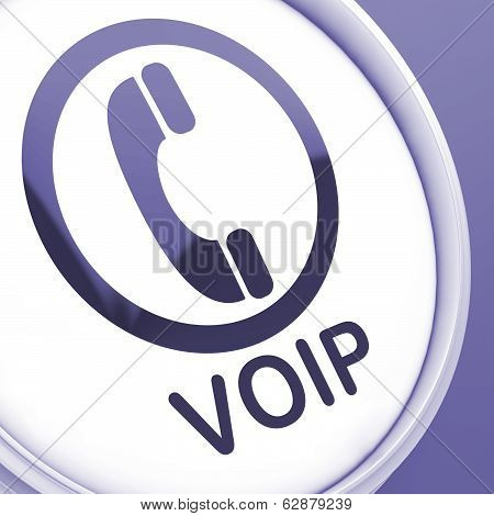 Voip Button Means Voice Over Internet Protocol Or Broadband Telephony