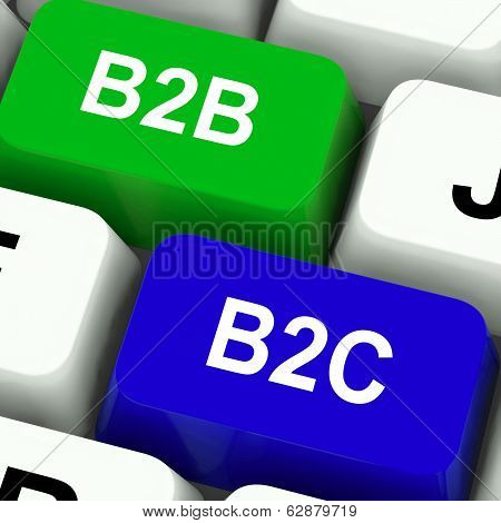 B2B And B2C Keys Mean Business Partnerships Or Consumer Relations