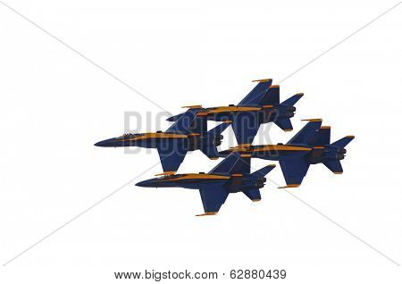 Image of 4 Blue Angels flying in Formation On White