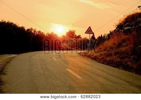 Small Road At Sunset - Stock Photo