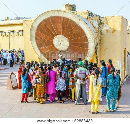 People Visit Astronomical Instrument At Jantar Mantar Observatory