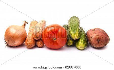 Summer Vegetables On White Background