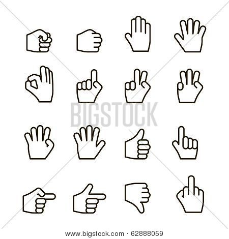 Hand gestures iconset, contour flat