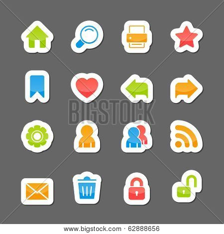 Website layout interface elements on cartoon stickers