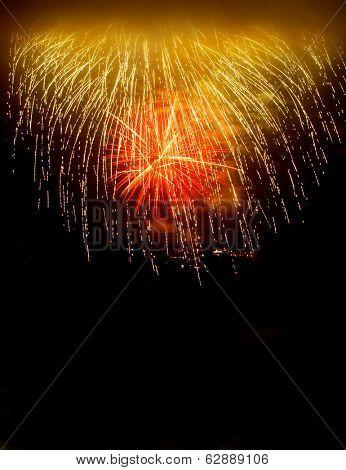 Beautiful Image Big Blast of Fireworks over the ocean