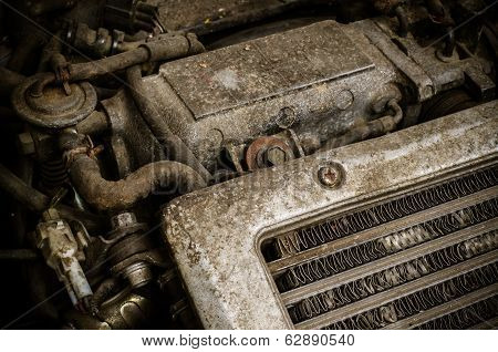 Old Dirty Car Engine