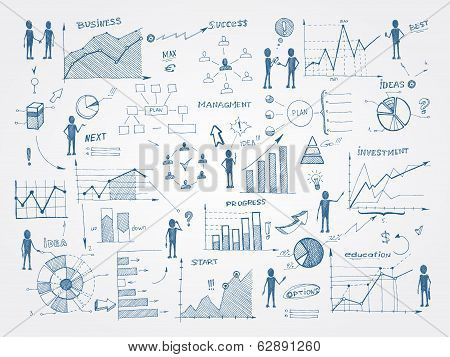 Doodle business management infographics elements