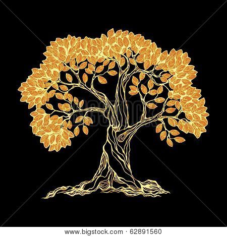 Golden tree on black