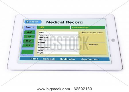 Medical Record On Tablet.