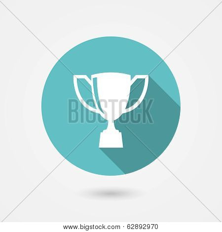 Trophy cup flat vector icon