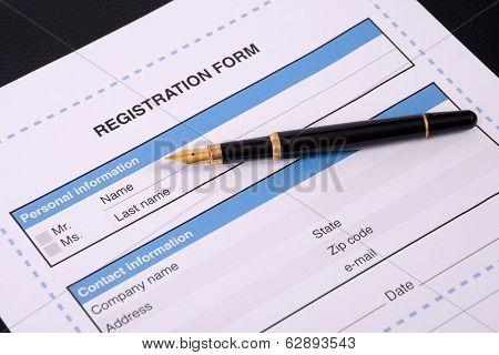 Blank Registration Form.