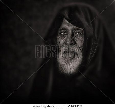 Very Nice monochrome Image of a Afghan Spiritual leader