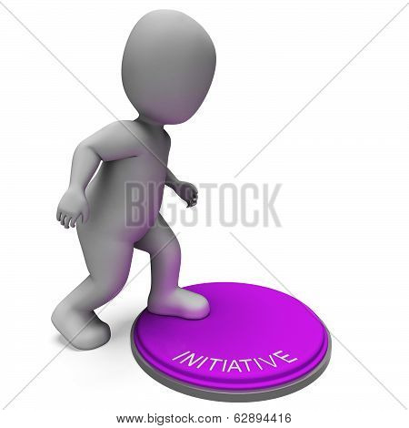 Initiative Button Means Resourceful Inventive And Leader
