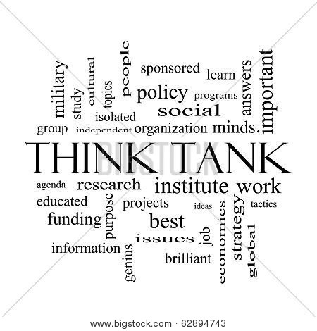 Think Tank Word Cloud Concept In Black And White
