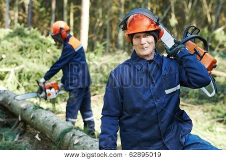 Portrait of lumberjack logger worker in protective workwear with chainsaw at forest