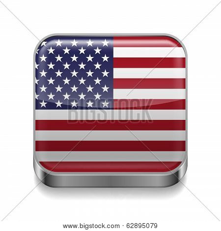 Metal  icon of USA