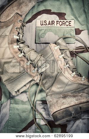 Combat Boots And Us Air Force Uniform