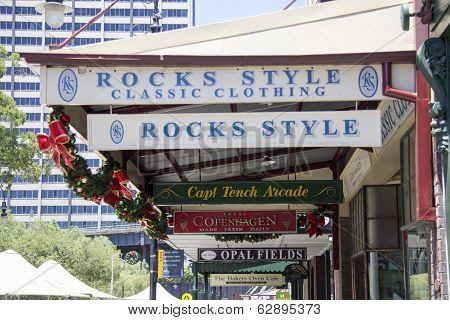Sydney, Australia-december 19Th 2913: Signs In The Rocks Area Of Sydney. The Rocks Is The Oldest Are
