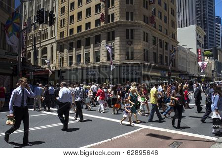 Sydney, Australia-december 19Th 2913: A Busy Lunctime On George Street. The Street Was The Original