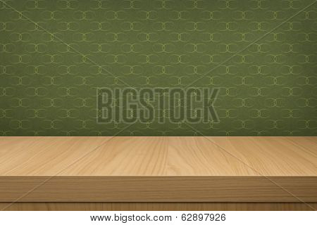 Background With Wooden  Deck Table Over Vintage Wallpaper With Pattern