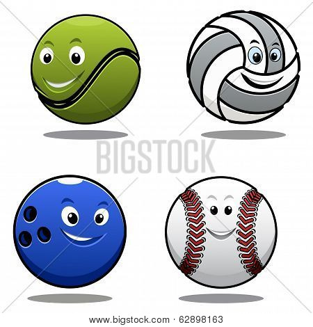 Set of four cartoonl sports balls