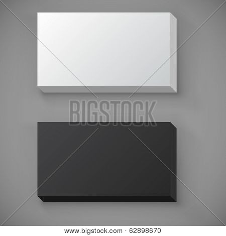 Black and white blank standard business card stack vector template.