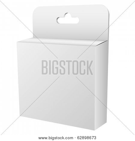 Blank white hanging retail box isolated on white background vector template.