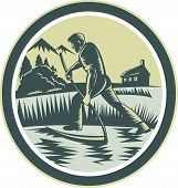 pic of scythe  - Illustration of an organic farmer farm worker reaping harvesting field using scythe inside oval shape on isolated background done in retro woodcut style - JPG