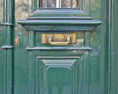 elegant green door close-up