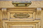 elegant door handle and postbox close-up
