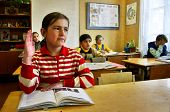 Russian, Country School, Classroom, Schoolgirl Raises His Hand.
