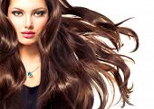 stock photo of brunette hair  - Fashion Model Girl Portrait with Long Blowing Hair - JPG