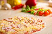 foto of carbonara  - italian pizza carbonara with pineapples making - JPG