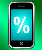 Percent Sign On Phone Shows Percentage Discount Or Investment
