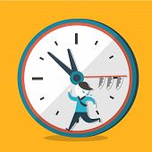 pic of running-late  - flat design vector illustration concept of hurry up - JPG