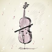 picture of string instrument  - Black and white drawing of classical stringed music instruments - JPG