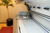 stock photo of sunburn  - Tanning Bed Solarium At Healthy Club Spa