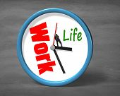 stock photo of stop fighting  - Stopping clock hand for life space on concrete ground - JPG