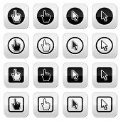 Hand and arrow cursor vector buttons set