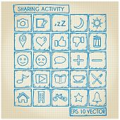 Sharing Activity Icon Doodle Set