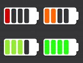 Vector modern battery icons on black background.