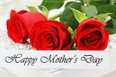 Happy Mother's Day card with three red roses