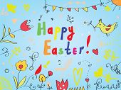 Easter card with flowers birds decorations greeting