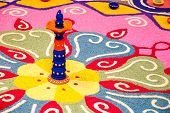 pic of kolam  - Colorful Indian kolam during a Depavali celebration - JPG