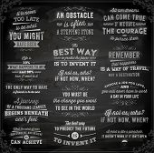 Set of Quotes Typographical Posters, Vector Design. Motivational Quotes for Inspirational Art. Chalkboard Background, Chalk Design. poster
